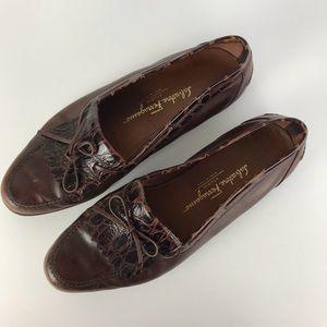 Salvatore Ferragamo Crocodile Tassels Loafers 10D